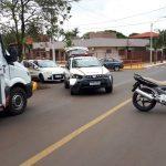 Viatura da Brigada Militar se envolve em acidente com motocicleta no centro de Três Passos